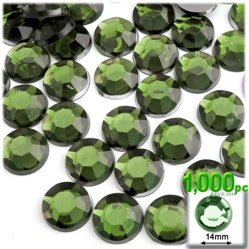 Rhinestones, Flatback, Round, 14mm, 1,000-pc, Olive Green