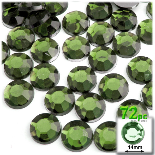 Rhinestones, Flatback, Round, 14mm, 72-pc , Olive Green