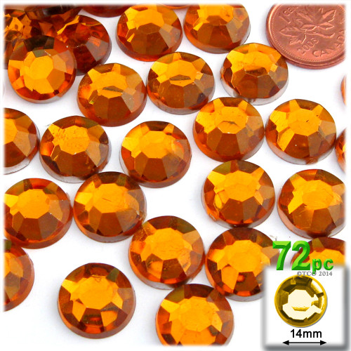 Rhinestones, Flatback, Round, 14mm, 72-pc , Orange