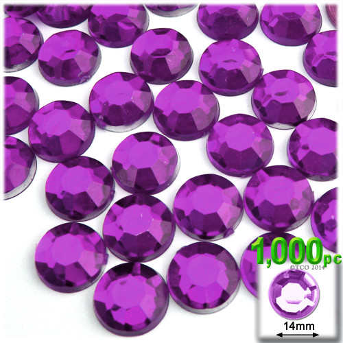 Rhinestones, Flatback, Round, 14mm, 1,000-pc, Purple (Amethyst)