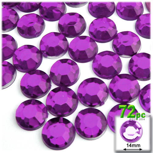 Rhinestones, Flatback, Round, 14mm, 72-pc , Purple, Amethyst