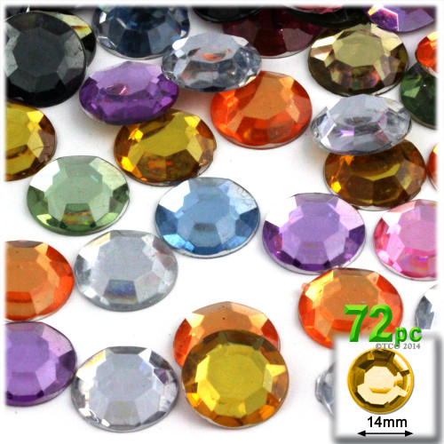 Rhinestones, Flatback, Round, 14mm, 72-pc, Pastel Assortment