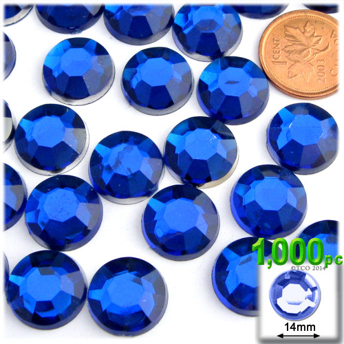 Rhinestones, Flatback, Round, 14mm, 1,000-pc, Royal Blue