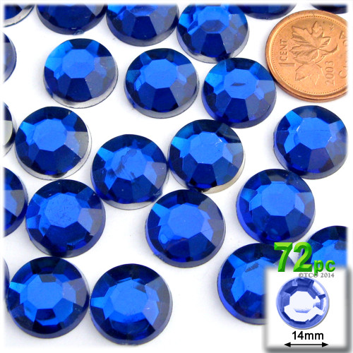 Rhinestones, Flatback, Round, 14mm, 72-pc , Royal Blue