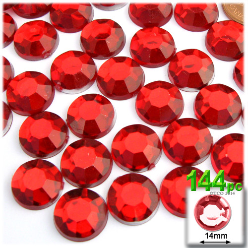 Rhinestones, Flatback, Round, 14mm, 144-pc, Ruby Red