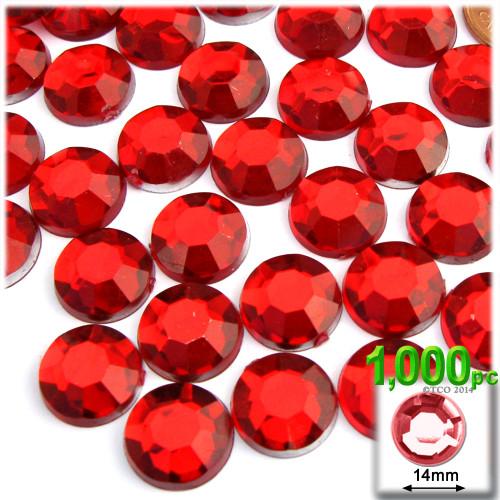 Rhinestones, Flatback, Round, 14mm, 1,000-pc, Ruby Red