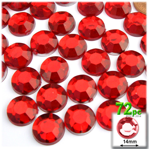 Rhinestones, Flatback, Round, 14mm, 72-pc , Ruby Red