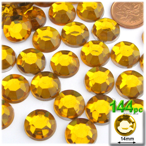 Rhinestones, Flatback, Round, 14mm, 144-pc, Golden Yellow