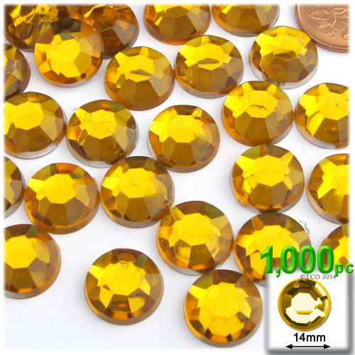 Rhinestones, Flatback, Round, 14mm, 1,000-pc, Golden Yellow