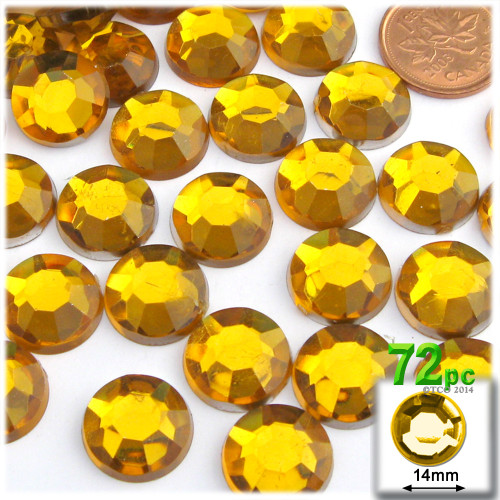 Rhinestones, Flatback, Round, 14mm, 72-pc , Golden Yellow