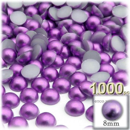 Half Dome Pearl, Plastic beads, 8mm, 1,000-pc, Luxplum Purple
