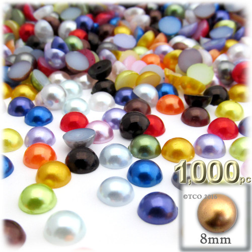 Half Dome Pearl, Plastic beads, 8mm, 1,000-pc, Multi Mix