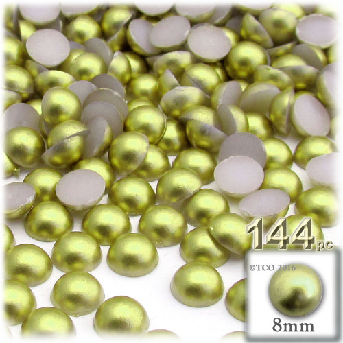Half Dome Pearl, Plastic beads, 8mm, 144-pc, Bright Phosphoric Green