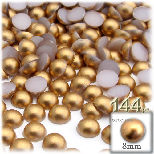Half Dome Pearl, Plastic beads, 8mm, 144-pc, Golden Caramel Brown