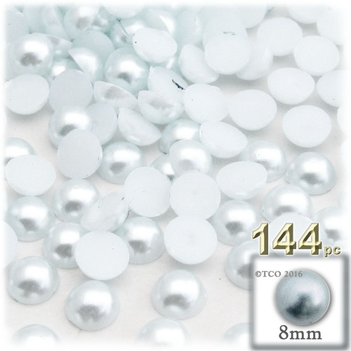 Half Dome Pearl, Plastic beads, 8mm, 144-pc, Irish Blue Pearl