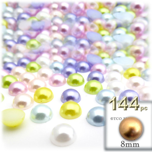 Half Dome Pearl, Plastic beads, 8mm, 144-pc, Pastel Mix