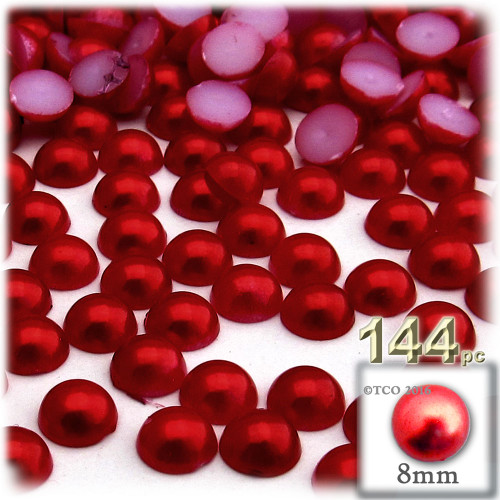 Half Dome Pearl, Plastic beads, 8mm, 144-pc, Pearl Red