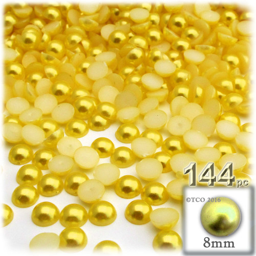 Half Dome Pearl, Plastic beads, 8mm, 144-pc, Sunshine Yellow