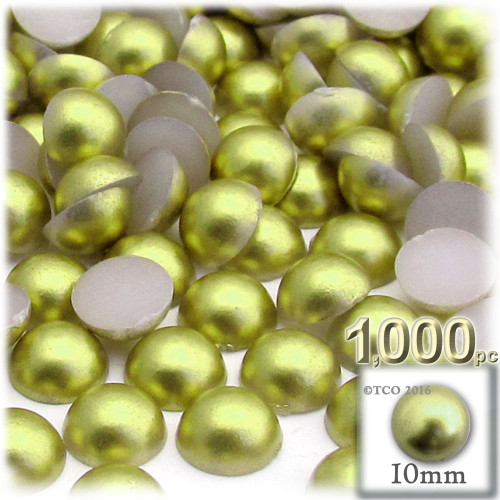 Half Dome Pearl, Plastic beads, 10mm, 1,000-pc, Bright Phosphoric Green