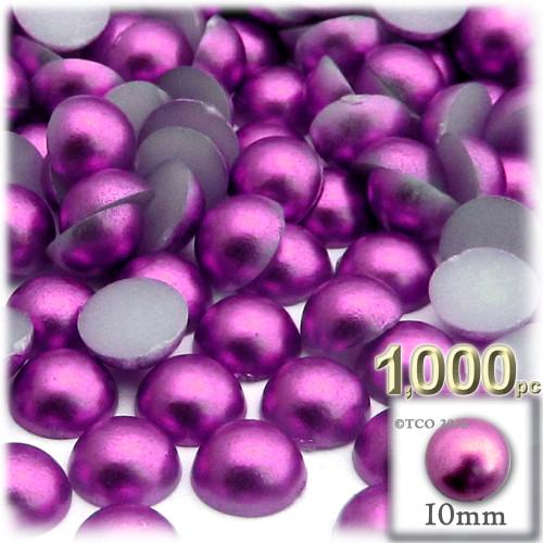 Half Dome Pearl, Plastic beads, 10mm, 1,000-pc, Fuchsia Pink