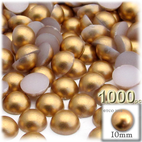 Half Dome Pearl, Plastic beads, 10mm, 1,000-pc, Golden Caramel Brown