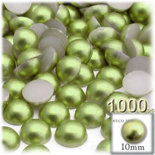 Half Dome Pearl, Plastic beads, 10mm, 1,000-pc, Grass Green