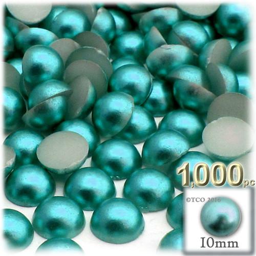 Half Dome Pearl, Plastic beads, 10mm, 1,000-pc, Jade Blue