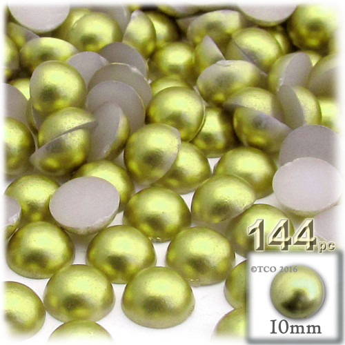 Half Dome Pearl, Plastic beads, 10mm, 144-pc, Bright Phosphoric Green