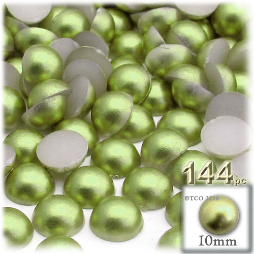 Half Dome Pearl, Plastic beads, 10mm, 144-pc, Grass Green