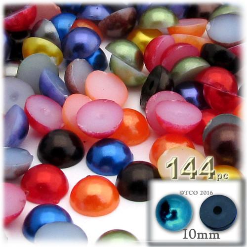 Half Dome Pearl, Plastic beads, 10mm, 144-pc, Jewel Tone Mix
