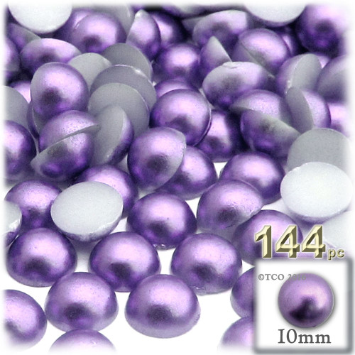 Half Dome Pearl, Plastic beads, 10mm, 144-pc, Lavender Purple