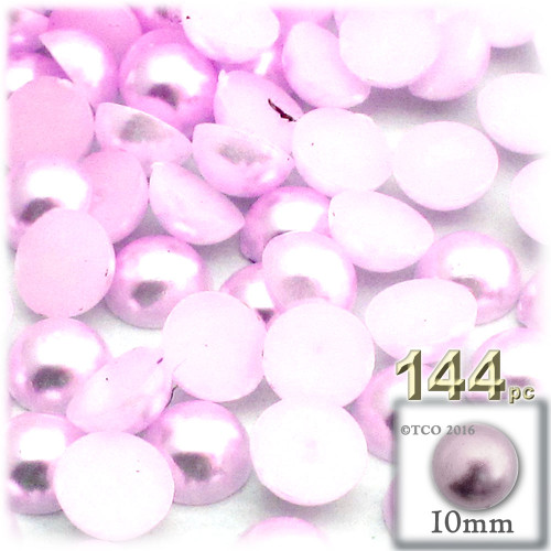 Half Dome Pearl, Plastic beads, 10mm, 144-pc, Light Baby Pink