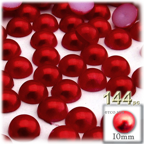 Half Dome Pearl, Plastic beads, 10mm, 144-pc, Pearl Red