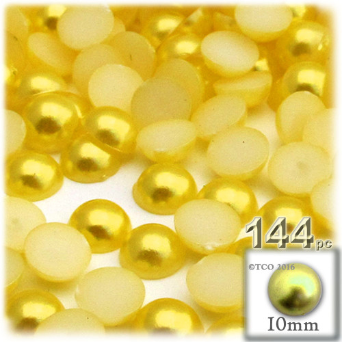 Half Dome Pearl, Plastic beads, 10mm, 144-pc, Sunshine Yellow