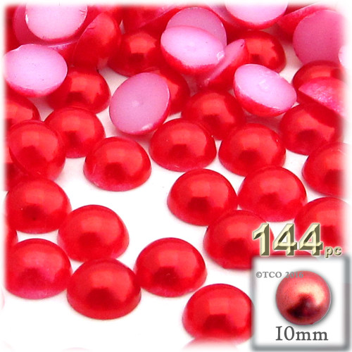 Half Dome Pearl, Plastic beads, 10mm, 144-pc, Tulip Red