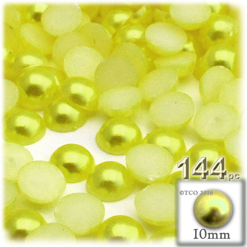 Half Dome Pearl, Plastic beads, 10mm, 144-pc, Yellow Rays