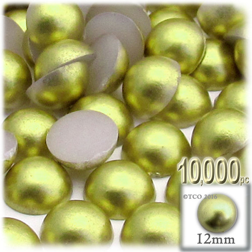 Half Dome Pearl, Plastic beads, 12mm, 10,000-pc, Bright Phosphoric Green
