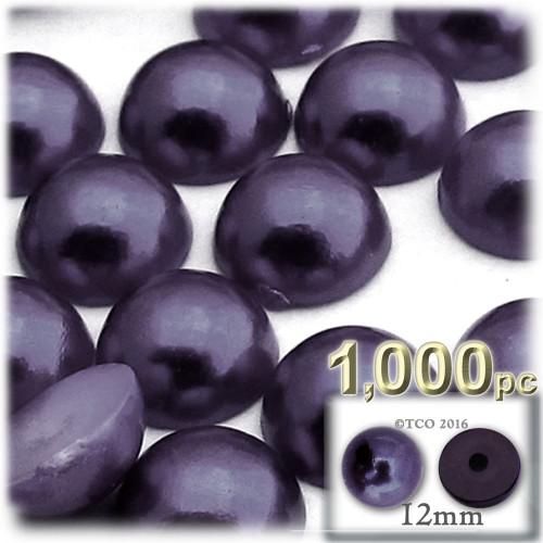 Half Dome Pearl, Plastic beads, 12mm, 1,000-pc, Blueberry Purple