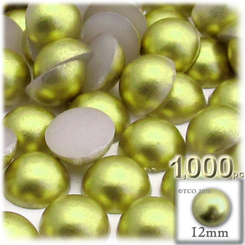Half Dome Pearl, Plastic beads, 12mm, 1,000-pc, Bright Phosphoric Green