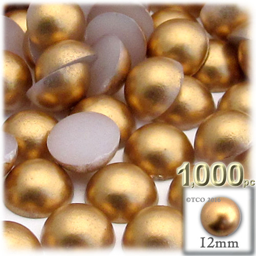 Half Dome Pearl, Plastic beads, 12mm, 1,000-pc, Golden Caramel Brown