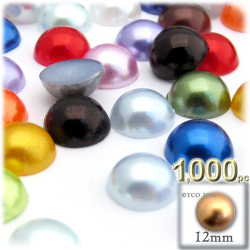 Half Dome Pearl, Plastic beads, 12mm, 1,000-pc, Multi Mix