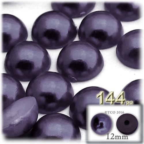 Half Dome Pearl, Plastic beads, 12mm, 144-pc, Blueberry Purple