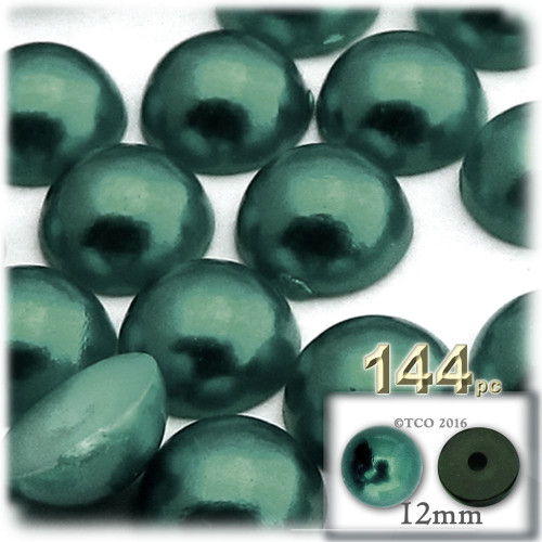 Half Dome Pearl, Plastic beads, 12mm, 144-pc, Forest Green