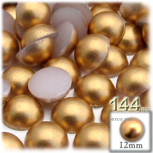 Half Dome Pearl, Plastic beads, 12mm, 144-pc, Golden Caramel Brown