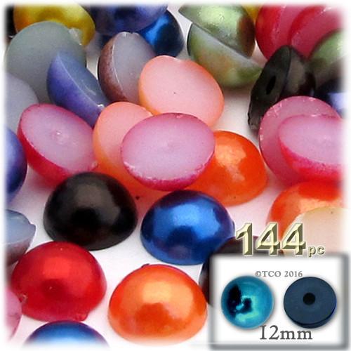 Half Dome Pearl, Plastic beads, 12mm, 144-pc, Jewel Tone Mix