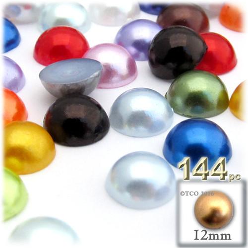 Half Dome Pearl, Plastic beads, 12mm, 144-pc, Multi Mix