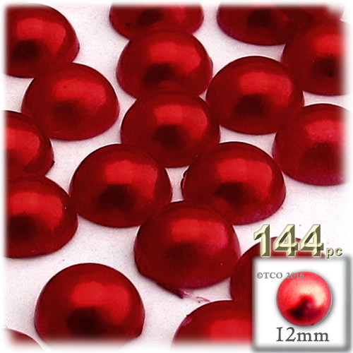 Half Dome Pearl, Plastic beads, 12mm, 144-pc, Pearl Red