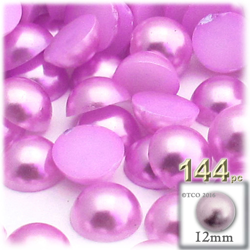 Half Dome Pearl, Plastic beads, 12mm, 144-pc, Plush Pink
