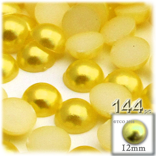 Half Dome Pearl, Plastic beads, 12mm, 144-pc, Sunshine Yellow
