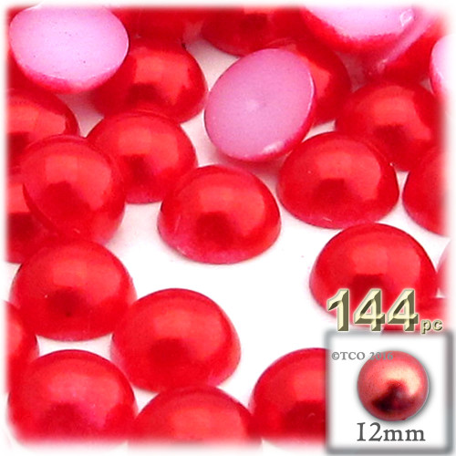 Half Dome Pearl, Plastic beads, 12mm, 144-pc, Tulip Red